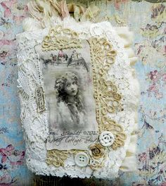 Romantic Fabric and Vintage Lace Journal by shabbycottagestudio, $48.00