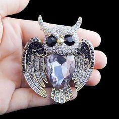 Owl Bird Brooch in Purple Rhinestone Crystal
