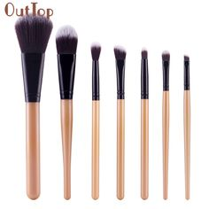 Pretty New Pro Women Brushes Wooden Handle Foundation Concealer Blusher Cosmetic Brush Makeup Brush Sets Kits Tools 7PC #Affiliate
