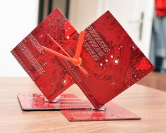 Handmade Computer Red motherboard Circuit by DigiartByKalantzis