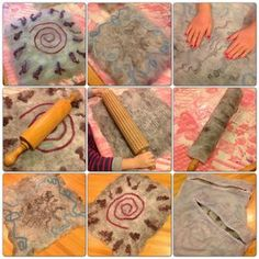 Felting with children, using rolling pins (and finally a washing machine). Textile Patterns, Textile Art, Textiles, Nuno Felting, Needle Felting, Felt Crafts, Diy And Crafts, Waldorf Crafts, Felt Purse