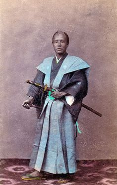 """Felice Beato, """"Japanese officer in state dress"""", hand colored albument print…"""
