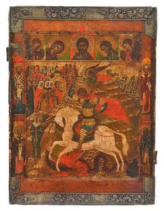 A RUSSIAN ICON OF ST GEORGE AND THE DRAGON CIRCA 1800 Medieval Art, Renaissance Art, Saint George And The Dragon, Frida And Diego, Russian Icons, Russian Orthodox, Archangel Michael, Art Icon, Catholic Saints