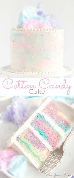 This Cotton Candy Cake has pretty marbled layers of light and fluffy cake paired with a cotton candy buttercream! | livforcake.com