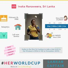 #HerWorldCup : Sri Lanka's #InokaRanaweera is the only southpaw amid all eight captains in this edition of Women's World Cup.  #WWC17  #womenscricket #worldcup #insights #womeninsports #women #cricket #sports #srilanka #captain #lankan #southpaw #lefty #marketing #branding #strategy #online #socilmedia #smm #digital #design #technology #advertising #storytelling #analytics #TheDigitalSavvy