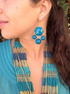 $18 Teal and gold JCew look earrings