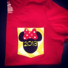 custom minnie or mickey mouse pocket by southernfriedstiches, $20.00