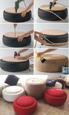 12 Brilliant Diy Ideas Of Recycle Tires Diy Dog Tyre Source Diy Tire Ottoman Source Diy Tire Table Diy Tire Pond Diy Tire Hanging hammock Recycle Tire Cup Diy Tire See Saw .Wonderful DIY Easy Ottoman from Plastic Bottles Tire Furniture, Recycled Furniture, Home Decor Furniture, Diy Para A Casa, Diy Casa, Diy Home Crafts, Diy Arts And Crafts, Diy Home Decor, Tire Seats