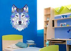 "Wolf Diamond Triangles Design Unique Wall Decal - 25"" x 19"""