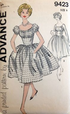 1950s' Advance 9423 Vintage Sewing Pattern - Junior and Misses' Dress. $18.00, via Etsy.
