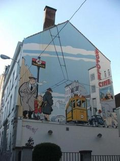 "Belgian street art created for the world premier of the movie ""Tin Tin""."