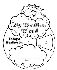 Create this weather wheel to engage all students during morning circle time and weather observations. This two piece activity includes a place for the child's name, a decorative cover, and seven types of weather to peek through the weather wheel window. #WeatherWheel #Classroomlearning #Classroomdecoration