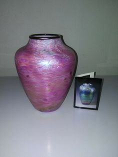 Tom Stoenner Hand Blown Art Glass Vase purple Aurene #TomStoenner