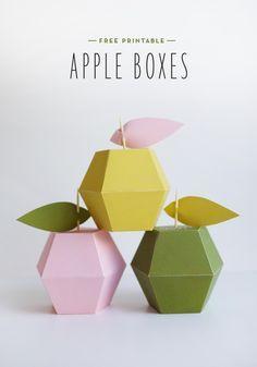 Plantillas para hacer cajitas con forma de manzana // Free printable apple boxes