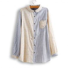 Sweet Pinstripe Splicing Polka Dot Long Sleeve Shirt For Women
