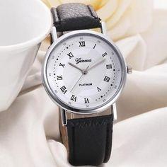 Geneva Unisex Leisure Dial Leather Band Analog Quartz Wrist Watch Watches