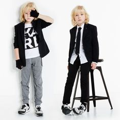 Boys black wool 'Rock Chic' blazer by KARL LAGERFELD Kids.