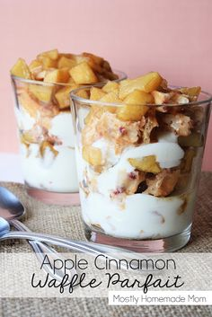Apple Cinnamon Waffle Parfait - Apples, sweetened with brown sugar and cinnamon, layered with mixed berry waffles, and vanilla yogurt - such an easy and yummy breakfast idea! cinnamon waffl