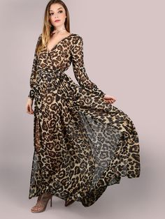A Leopard Swagger Long-Sleeved Belt maxi dress maxi dress outfit maxi dress summer maxi dress casual floral maxi dress boho maxi dress Vestido Maxi Floral, Chiffon Maxi Dress, Maxi Dress With Sleeves, Maxi Dresses, Sleeve Dresses, Sheath Dress, Party Dresses, Wrap Dress, Chifon Dress