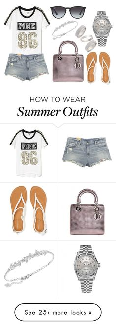 """Summer Outfit #46"" by fashionbymgda on Polyvore featuring Christian Dior, Victoria's Secret, Ralph Lauren, Ray-Ban, Swarovski, Aéropostale, Rolex and Topshop"