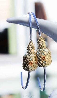 Créoles Ananas  #ananas #pineapple #preciousstone #finejewellery #petitejoaillerie #jewellery #sathyne #bijoux
