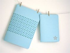 notebooks set triangles and star light blue by mipluseddesign, €14.00
