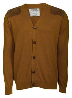 A mustard cardigan with a double shoulder gun patch - what could be more British? Wear with your tweed blazer for maximum style points.