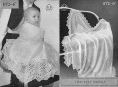 2 ply baby shawls vintage knitting pattern PDF by Ellisadine