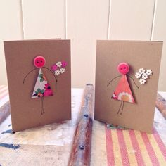 Button lady card hand made