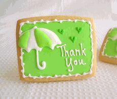 Custom Baked Shower Thank You Cookies. Comes individually bagged. Available at http://www.mybabyshowerfavors.com/ck030.html