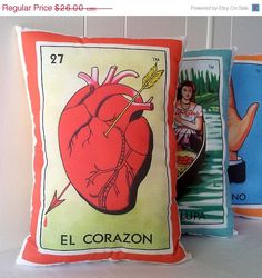 ON SALE El Corazon Heart Mexican Loteria Throw Pillow - Christmas / Dia De Los Muertos / Day of the Dead. Christmas gift for hubby?