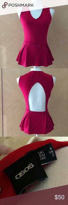 ASOS red peplum top S ASOS red open back peplum top. V neck. Stretchy. Fits size S  NO TRADES. Selling for a friend ASOS Tops