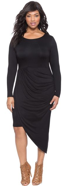Plus Size Asymmetrical Twist Wrap Dress