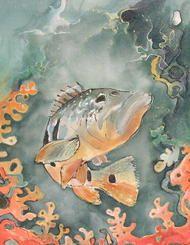 obrazy jedwab zwierzęta inne ręcznie malowane obraz malowany ręcznie na jedwabiu - ryba w głębinie
