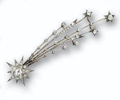 DIAMOND AIGRETTE, CIRCA an ornament designed as a shooting star, set with old European-cut, single-cut and rose-cut diamonds, mounted in platinum and gold Star Jewelry, Jewelry Box, Jewelry Accessories, Fine Jewelry, Jewelry Design, Jewellery, Victorian Jewelry, Antique Jewelry, Vintage Jewelry