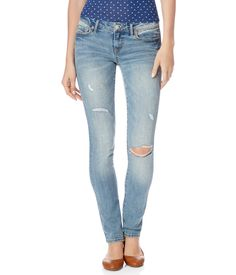 Skinny Destroyed Light Wash Jean from Aeropostale