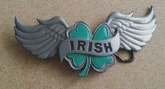 Check Back For New Items Every Week @ Every2ndcounts!! Follow Us! Belt Buckle Irish Shamrock 4 Leaf Clover Wings Hot Buckles HB116  #HotBuckles #Hip