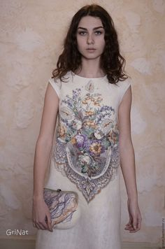 """Купить Платье """"Карамельное утро"""" - белый, павловопосадский платок, платье ручной работы, grinat"""