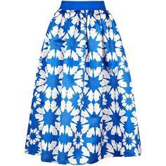 Womens Midi Skirts Alice + Olivia Molina Blue Bird Print Satin Midi... (1.740 BRL) ❤ liked on Polyvore featuring skirts, saia, bottoms, calf length skirts, blue pleated skirt, blue midi skirt, satin pleated skirt and mid calf skirts