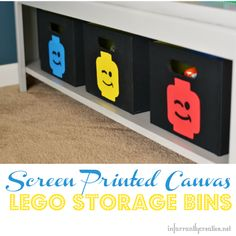 Screen printed canvas Lego bins from Infarrantly Creative