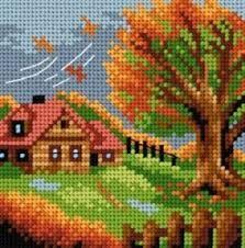 Fall Cross Stitch, Cross Stitch Quotes, Cross Stitch House, Simple Cross Stitch, Cross Stitch Flowers, Cross Stitch Patterns, Plastic Canvas Crafts, Plastic Canvas Patterns, Cross Stitch Landscape