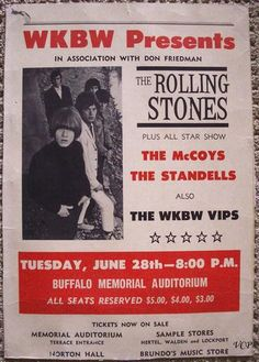 """""""The Rolling Stones - Buffalo Memorial Auditorium."""" Fantastic Glossy Art Print Taken from A Vintage Concert Poster Tour Posters, Band Posters, Music Posters, Vintage Rock, Vintage Music, Vintage Concert Posters, Vintage Posters, Norman Rockwell, Monet"""