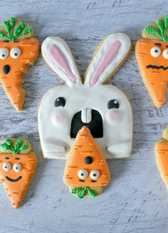 easter bunny and carrot cookies