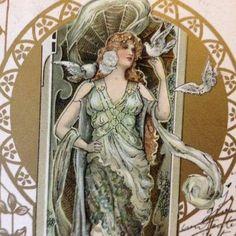 vintage french art nouveau postcards free | Antique Rare Eva Daniell 'Maiden with Doves' Gilded Art Nouveau French ...