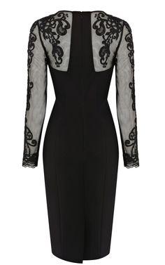 Karen Millen DP166 Lace Sleeve Pencil Dress Black (Back View)