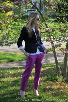 Bright Pants + Stripes + Blazer.