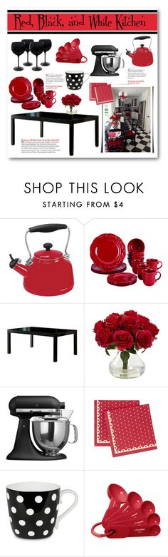 """Red, Black and White Kitchen"" by lalalaballa22 ❤ liked on Polyvore featuring interior, interiors, interior design, home, home decor, interior decorating, Chantal, BonJour, Furniture of America and Nearly Natural"