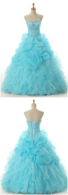 Ball Gown Sweetheart Sweep Train Tulle Prom Dress With Cascading Ruffles Beading CH0033 168