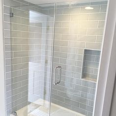 Grey Tile Grout, Grey Subway Tiles, Grey Tiles, Floor Grout, Grey Grout Bathroom, Glass Tile Shower, Gray Shower Tile, Subway Tile Showers, Shower Walls
