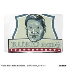 Marco Rubio 2016 Republican Candidate Hand Towels. Illustration showing Marco Rubio, an American senator, politician and Republican 2016 presidential candidate set inside shield crest with words Rubio 2016 done in retro style. #Rubio2016 #republican #americanelections #elections #vote2016 #election2016
